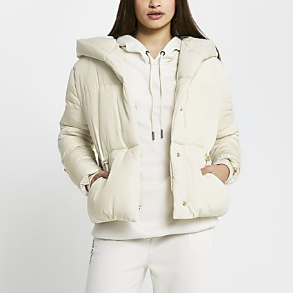 Cream drawcord shawl puffer coat