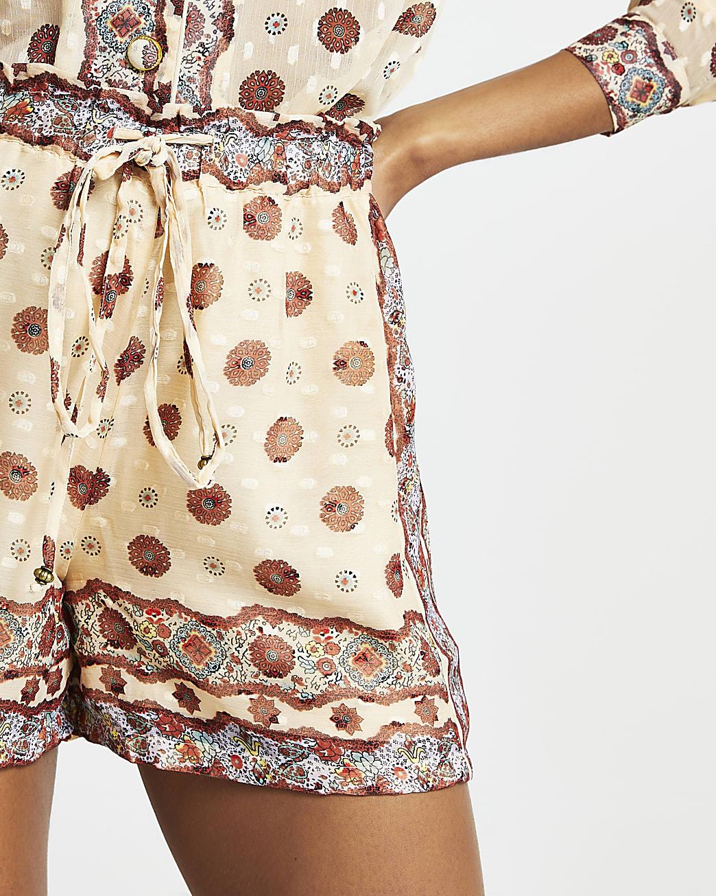 Cream drawstring chiffon shorts