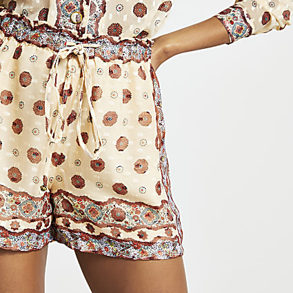 Cream drawstring chiffon shorts