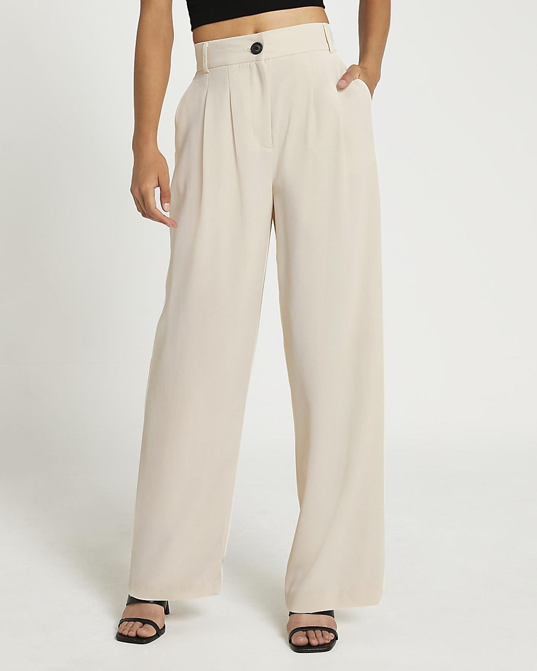 Cream Elasticated Smart Trouser