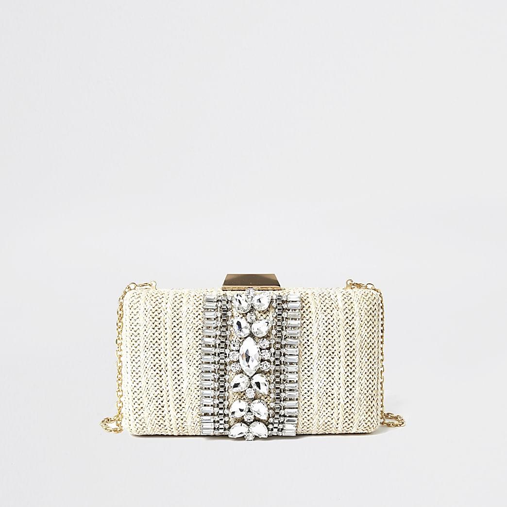Cream embellished box clutch bag