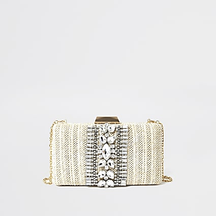 Cream embellished box clutch handbag