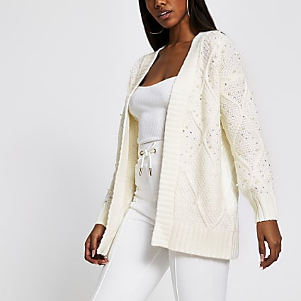 Cream embellished cable knit cardigan