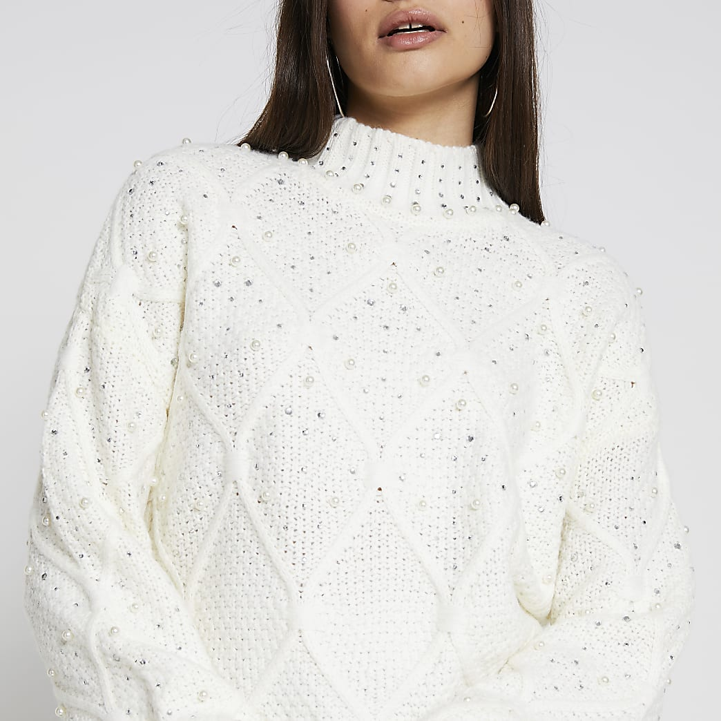 Cream embellished diamante long sleeve jumper