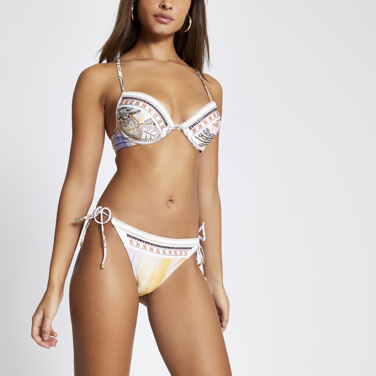 Cream embellished tie side bikini bottoms
