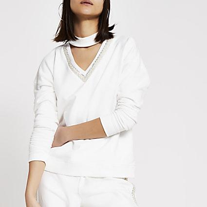 Cream embellished V neck choker sweatshirt