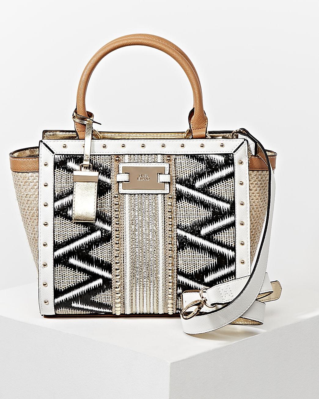 Cream embellished weave mix wing tote handbag