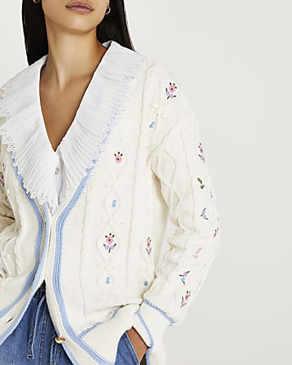 Cream embroidered cable knit cardigan