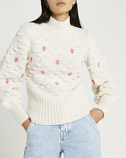 Cream embroidered chunky knit jumper