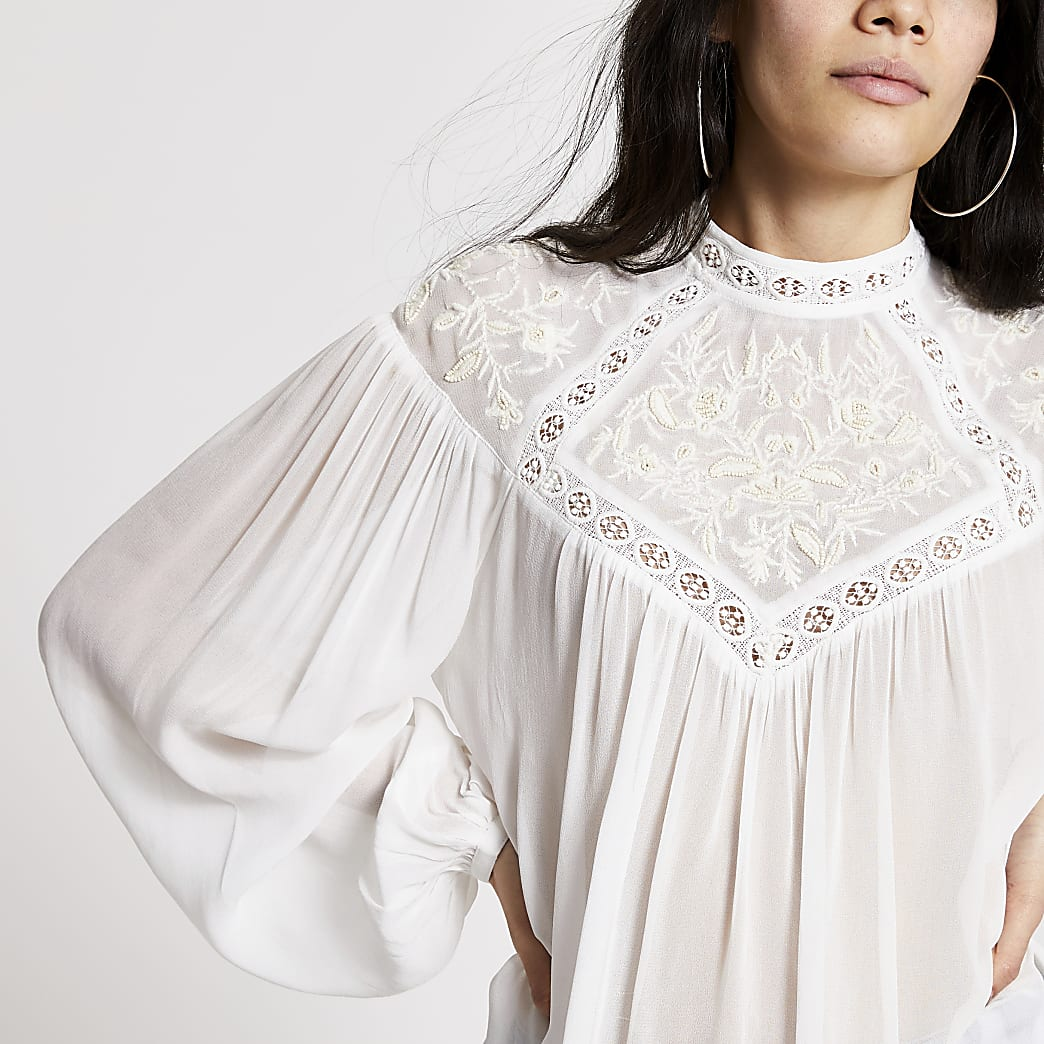 Cream embroidered high neck blouse