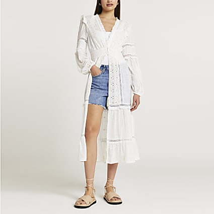 Cream embroidered maxi blouse