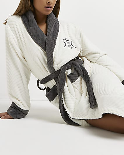 Cream embroidered RI dressing gown