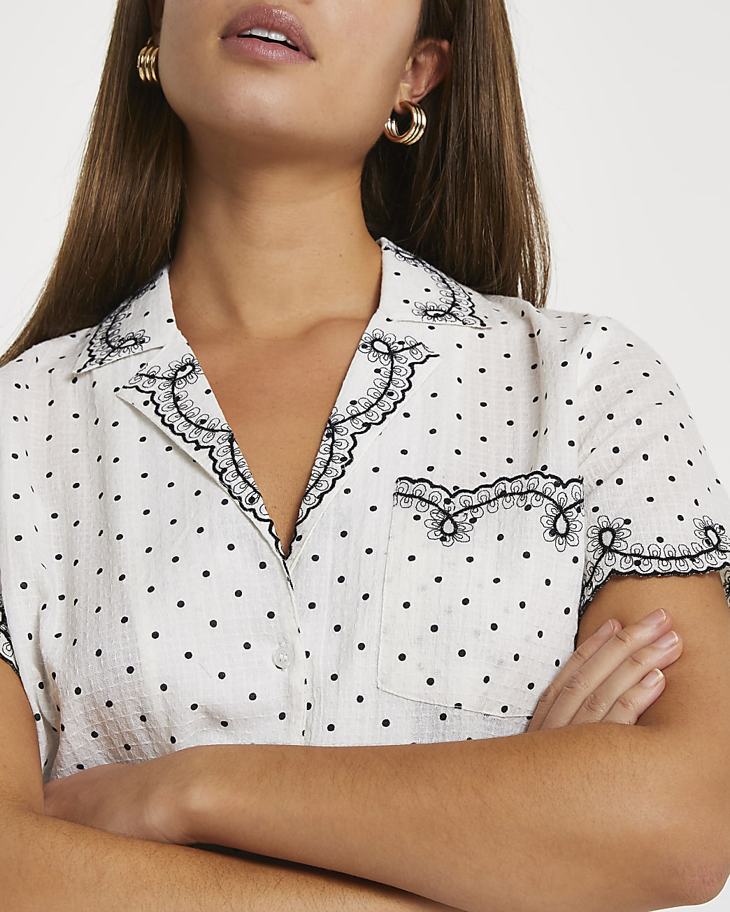 Cream embroidered spot print shirt