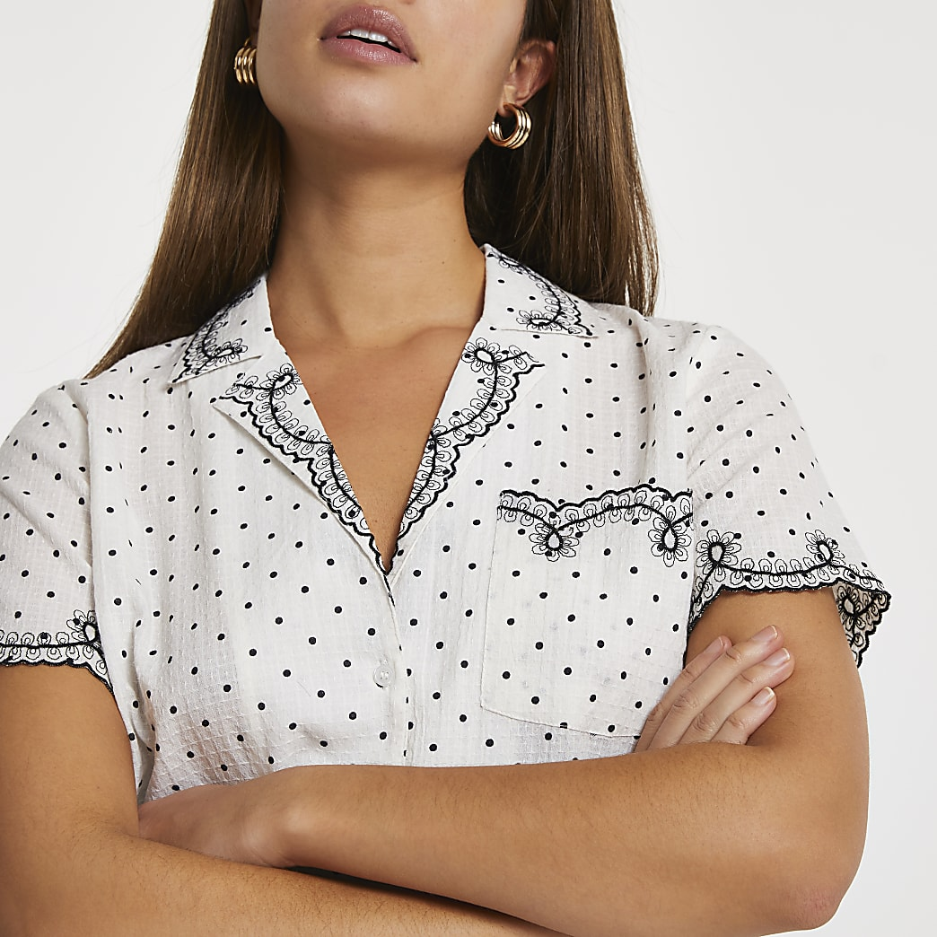 Cream embroidered spot print shirt