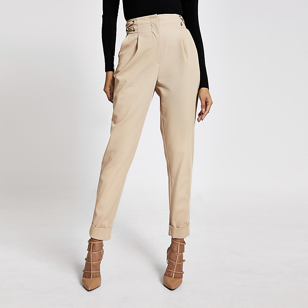 Cream eyelet lace-up side peg trousers