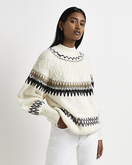 Cream fairisle knitted jumper