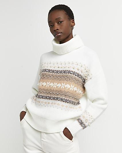 Cream fairisle knitted roll jumper