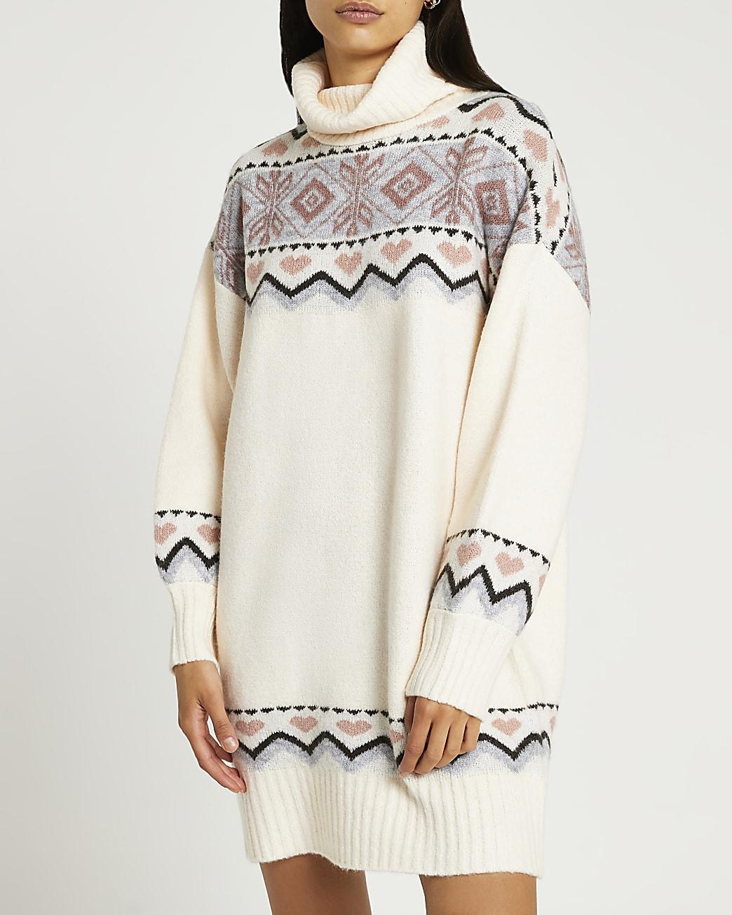 Cream fairisle knitted roll neck dress