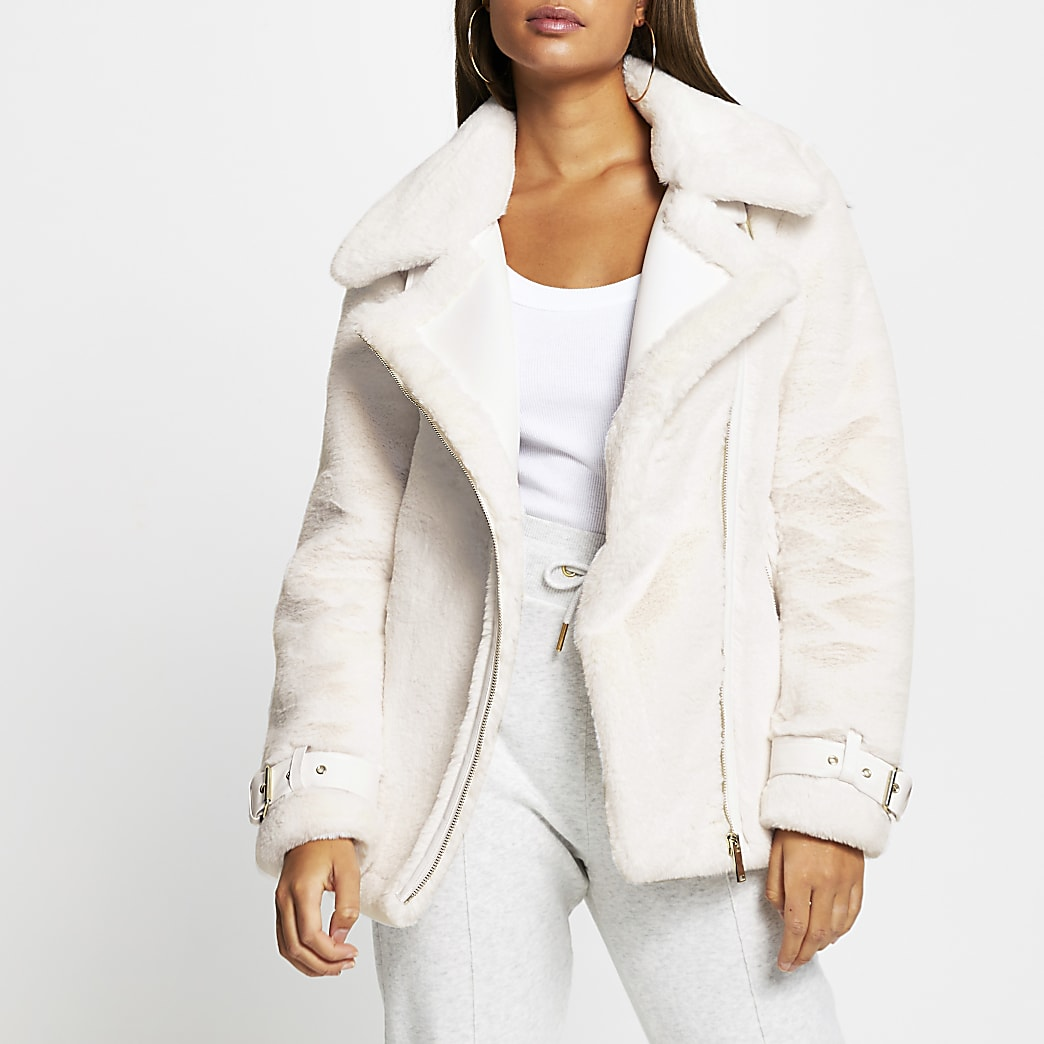 Cream faux fur aviator jacket