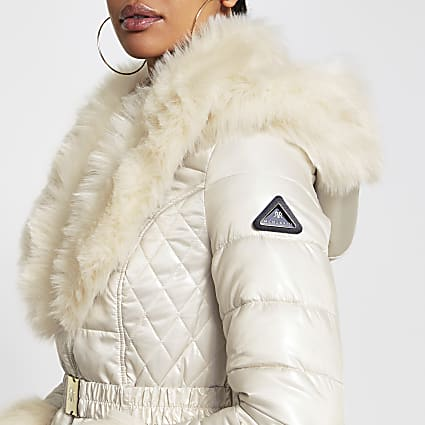 Cream faux fur hem fitted padded coat