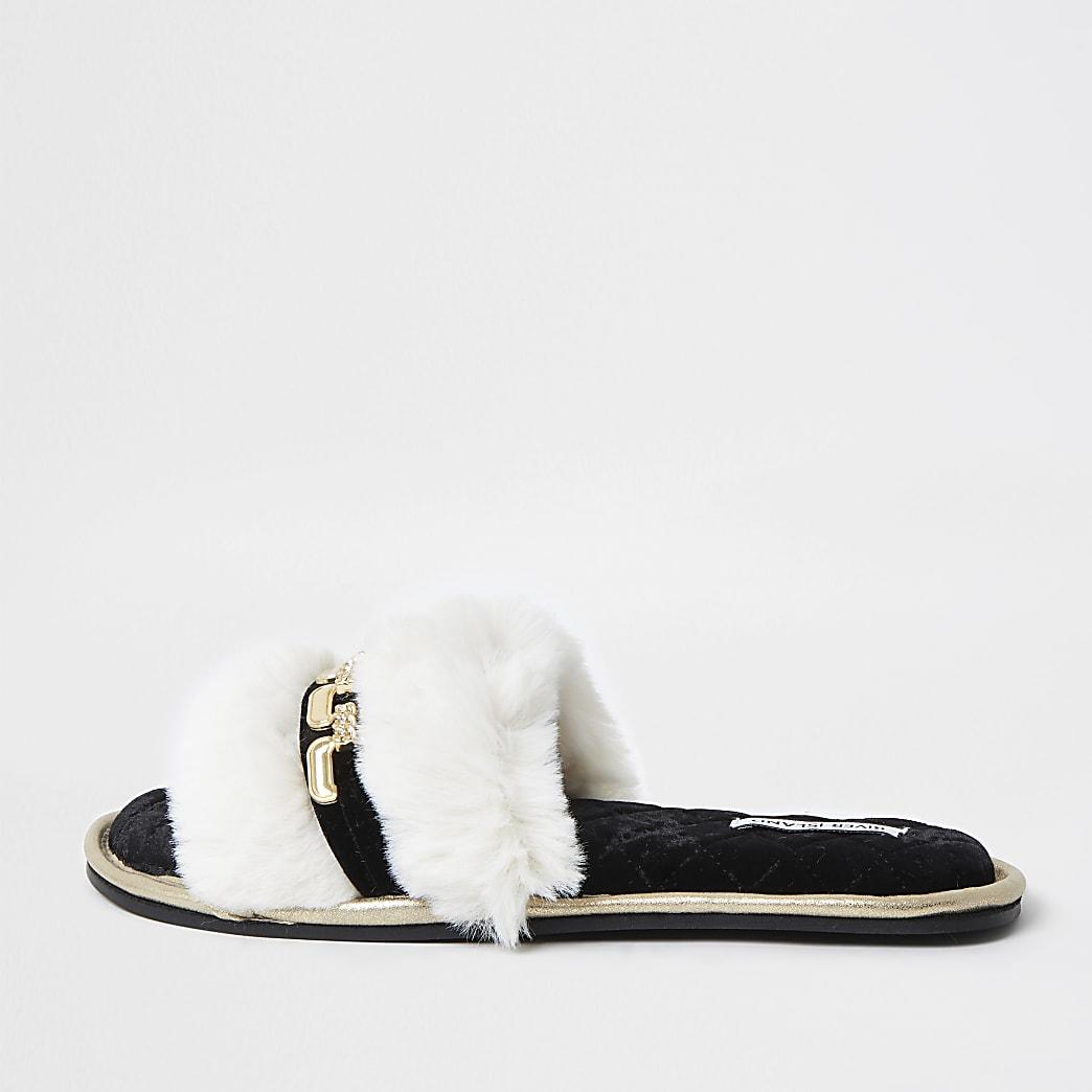 Cream faux fur open toe slippers