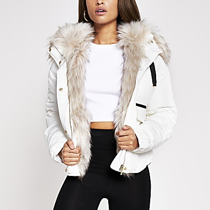 Cream faux fur padded jacket