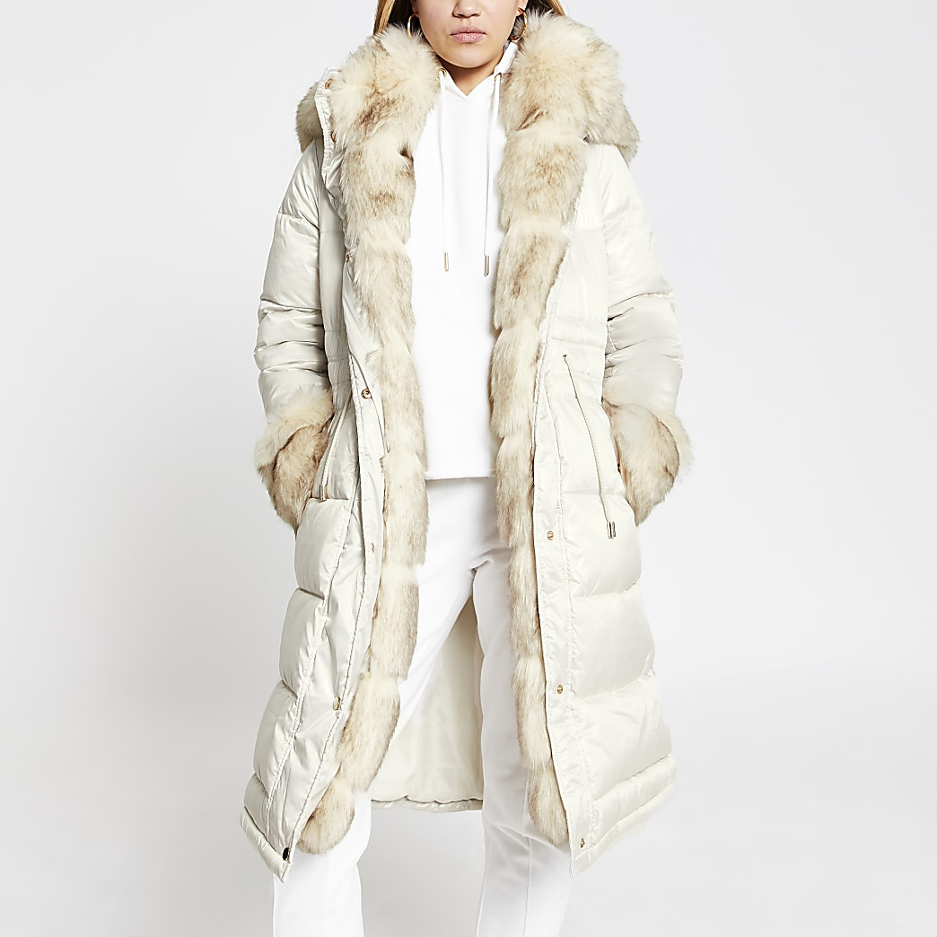 Cream faux fur padded parka coat