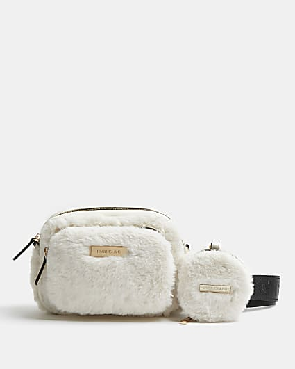 Cream faux fur quilted cross body bag