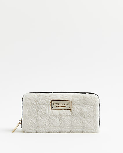 Cream faux fur quilted purse
