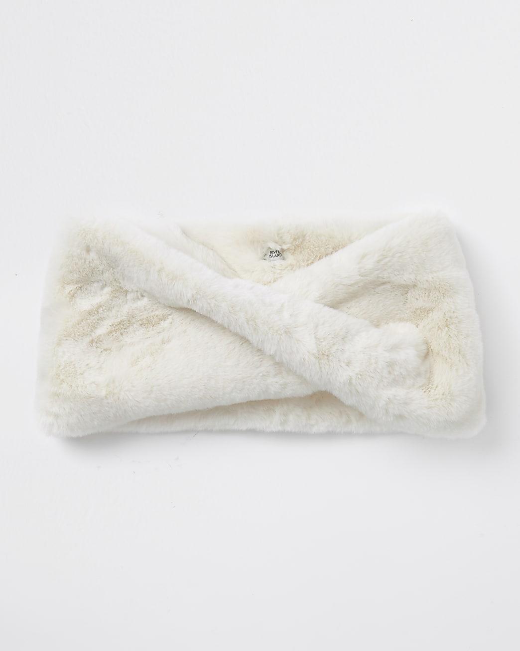 Cream faux fur twist snood scarf