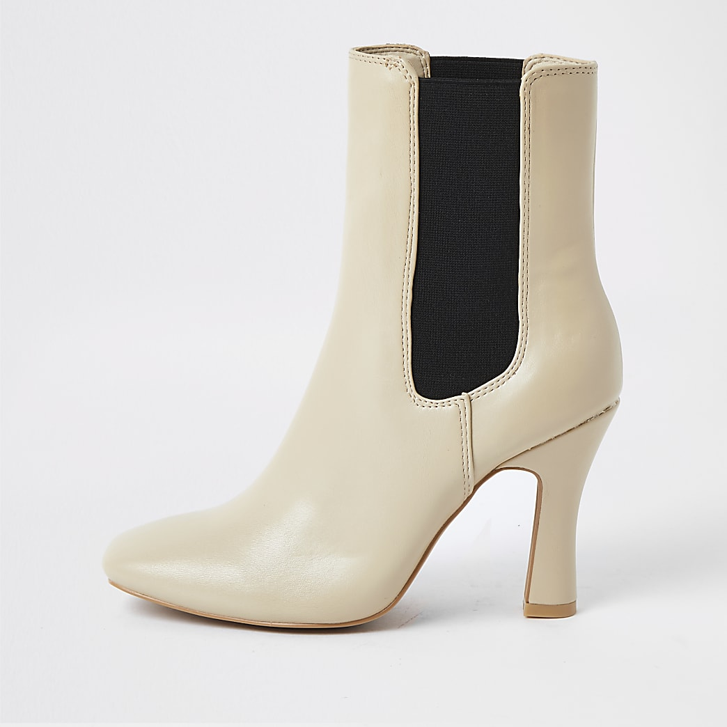 Cream Faux Leather block heel boots