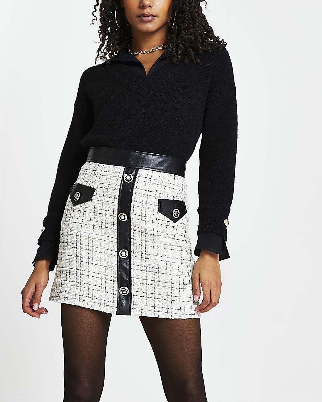 Cream faux leather check mini skirt