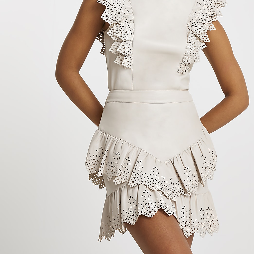 Cream faux leather cutwork frill mini skirt