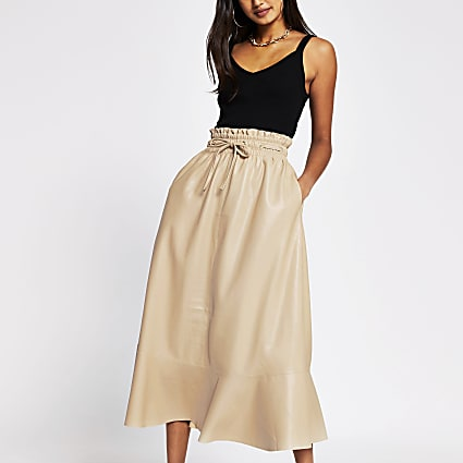 Cream faux leather midi tie waist skirt