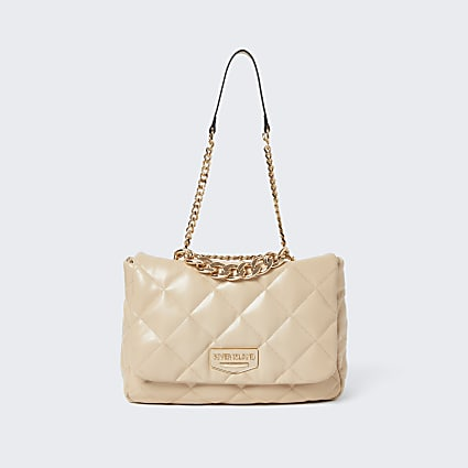 Cream faux leather quilted shoulder bag