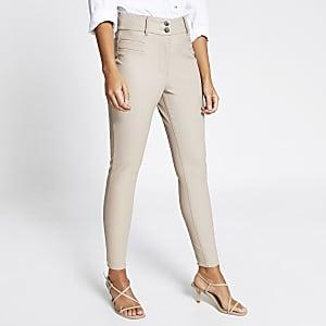 Pantalon en cuir synthétique crème