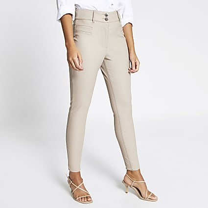 Cream faux leather trouser