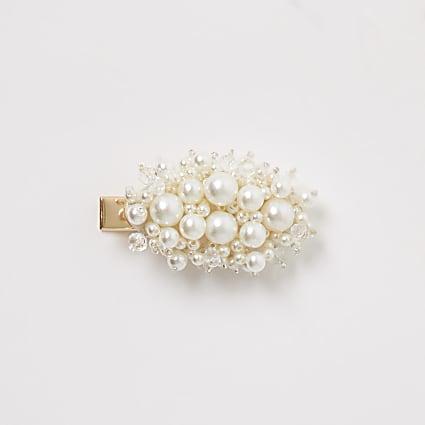 Cream faux pearl hair clip