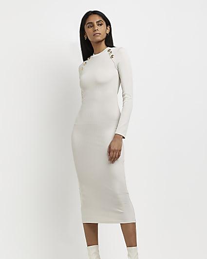 Cream fitted midi dress
