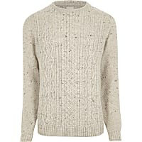 Cream flecked cable knit jumper