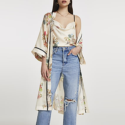 Cream floral cami longline duster 2 piece set