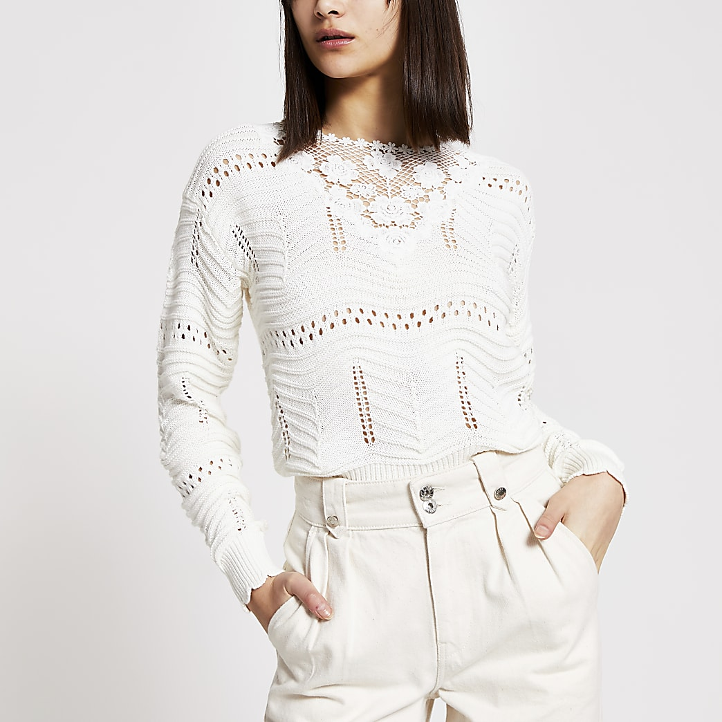 Cream floral embroidered knitted jumper