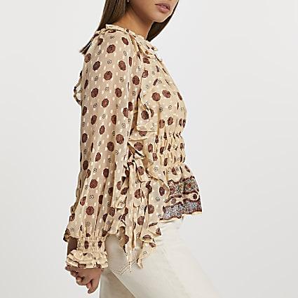 Cream floral frill bardot blouse