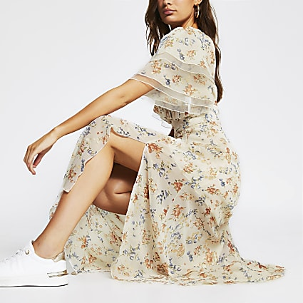 Cream floral frill sleeve maxi dress