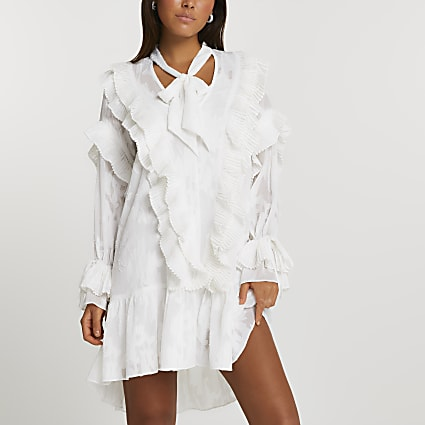 Cream floral jacquard frill mini dress