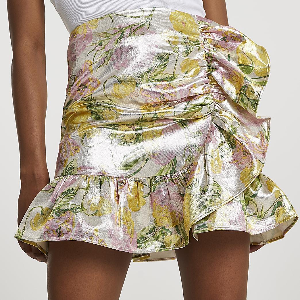 Cream floral jacquard frill mini skirt
