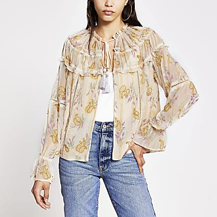 Cream floral long sleeve embellished jacket