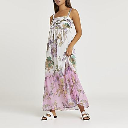 Cream floral ombre maxi dress
