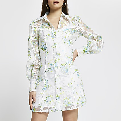 Cream floral organza shirt dress