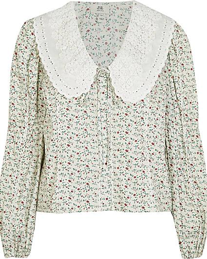Cream floral oversized collar top